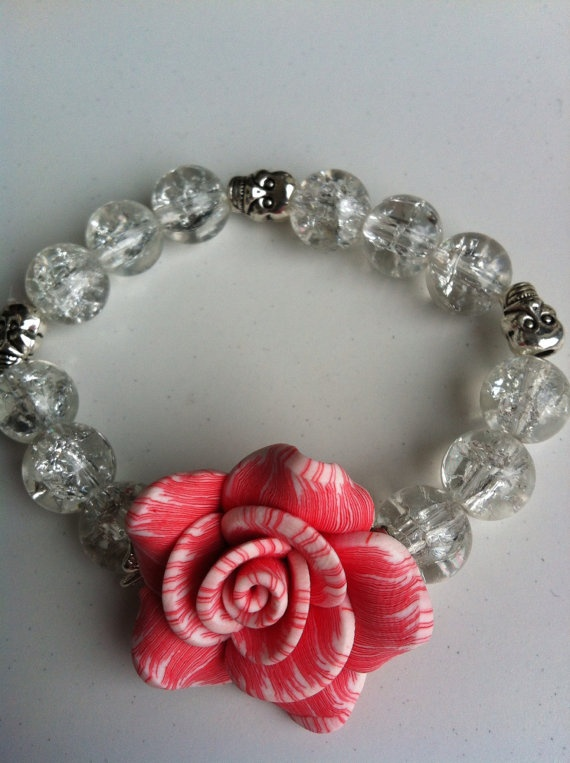 Rock'n'rose skull and glass bracelet by MadeWithLovebyGen on Etsy, $15.00