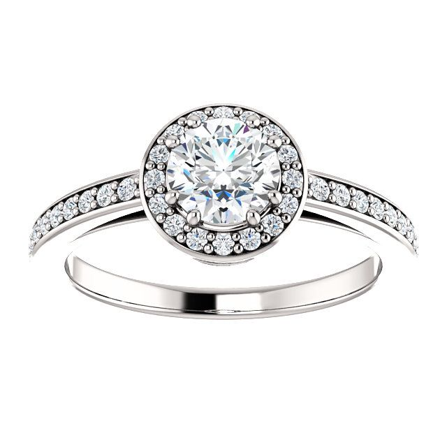 14kt White Gold 5.5mm Center Round Imitation Diamond or 16 Halo Diamonds (Color I-J, Clarity I1) and 20 Accent Diamonds (Color I-J, Clarity I1) Engagement Ring...(ST122088:467:P).! Price: $549.99