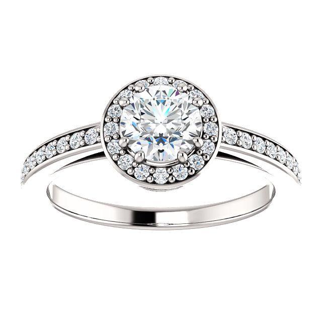 14kt White Gold 5.5mm Center Round Imitation Diamond or 16 Halo Diamonds (Color I-J, Clarity I1) and 20 Accent Diamonds (Color I-J, Clarity I1) Engagement Ring...(ST122088:467:P).! Price: $549.99