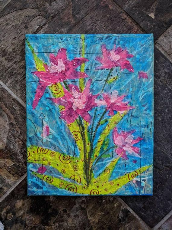 Floral Mixed Media Collage On Canvas Pink Paper Flowers Bouquet