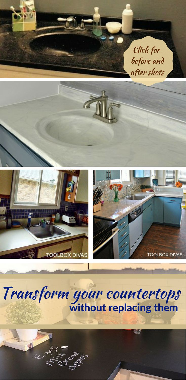 Want to completely transform and makeover the look of your bathroom or kitchen? A countertop change can make all the difference, but can also cost a significant amount. Get the look for less with these 7 hacks for transforming your countertops without removing. From concrete and cement layering for a marble effect, to contact paper covering, or even paint (whether textured spray paint or chalkboard paint), we've covered it all. The before and after photos should provide inspiration!