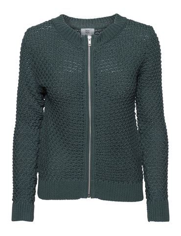 Cardigan in organic cotton with zip - Dark Green - noanoa