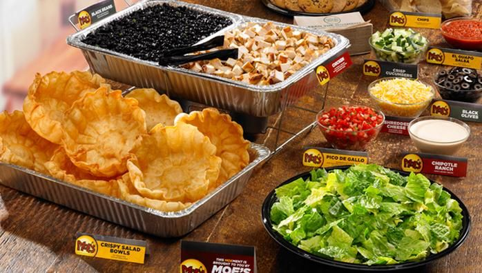 Moes Catering.  Actually a GREAT deal for feeding a crowd