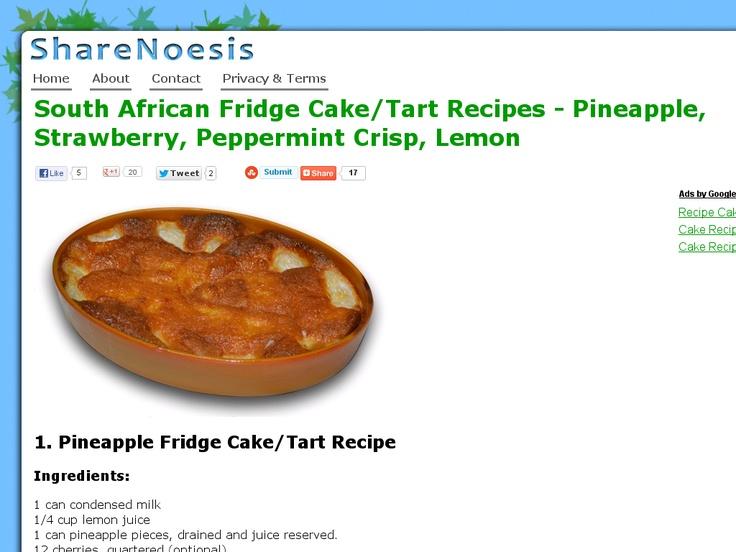 South African Fridge Cake/Tart Recipes - Pineapple, Strawberry, Peppermint Crisp, Lemon | ShareNoesis