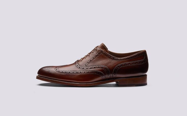 Dylan   Mens Oxford Brogue in Tan Hand Painted Calf Leather with a Leather Sole   Grenson Shoes - Side View
