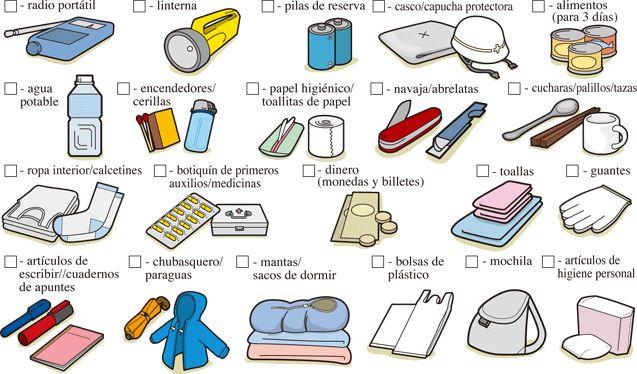 Lista de objetos del kit de #emergencia
