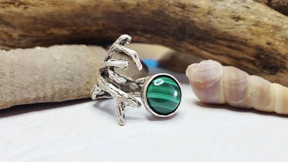 Check out Twig Ring With Stone ~ Malachite Coral Reef Ring ~ Silver Twig Ring ~ Gift For Girlfriend ~ Nature Inspired Ring ~ Birthday Gift For Sister on blueworldtreasures