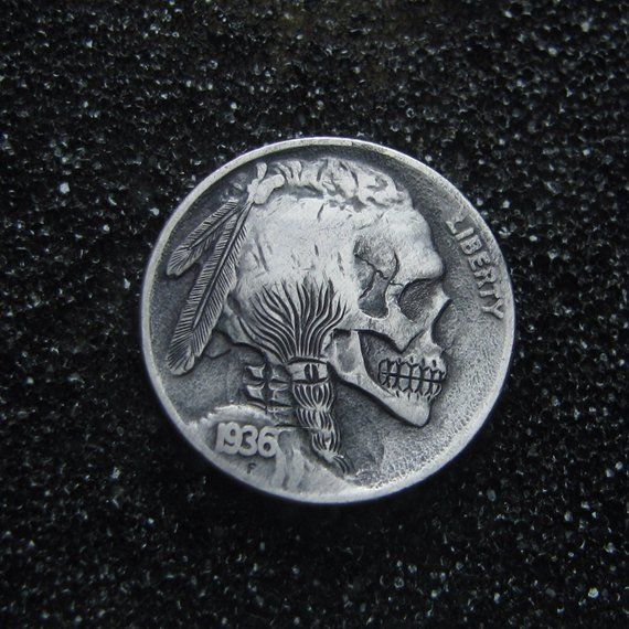 Detailed Skull Death Hobo Nickel Art Coin Original Hand Carved
