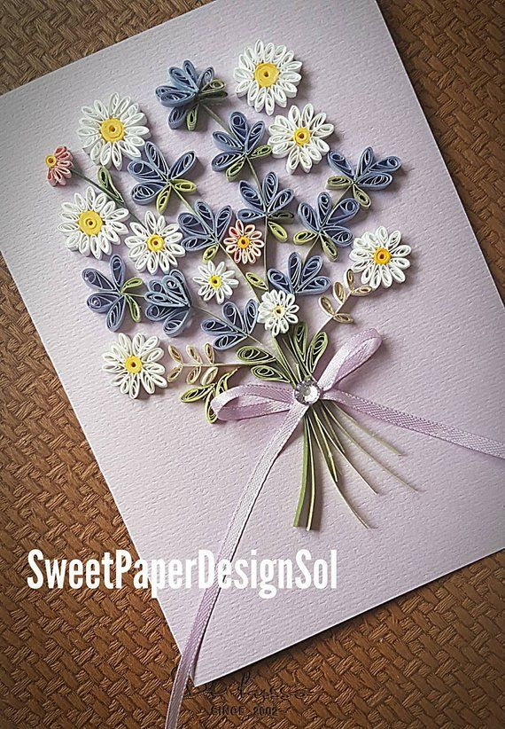 Paper Quilling Art Lavender And Daisy Flower Bouquet Card Mothers