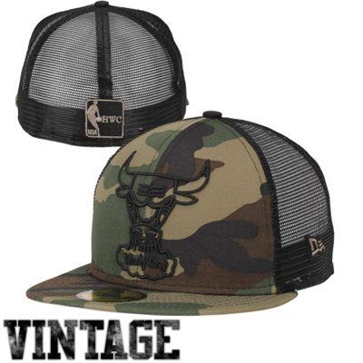 New Era Chicago Bulls 59FIFTY Woodland Camo Mesh Fitted Hat - Camo/Black