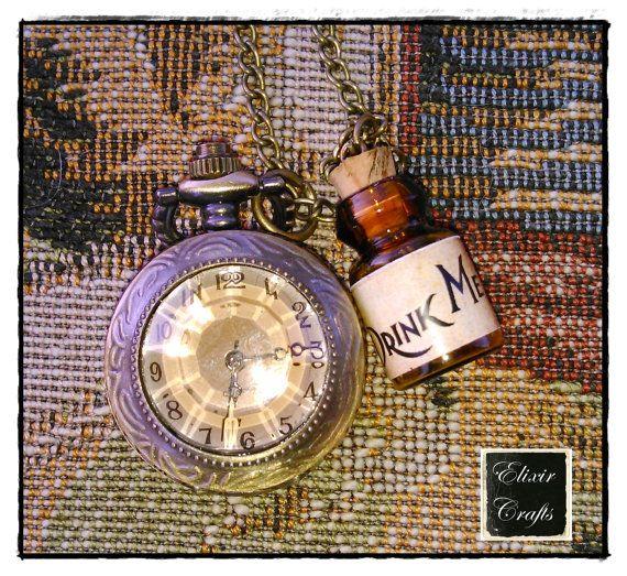 DRINK ME Bottle Retro Pocket Watch Long Necklace HOT Alice In Wonderland