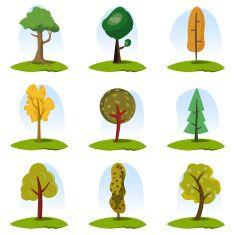 Dziewięć drzewa zestaw ikon 2 vector art illustration