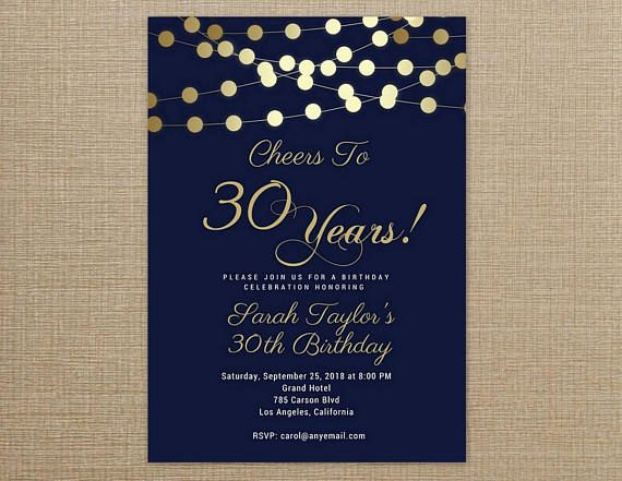 Cheers To 30 Years Invitation Any Age Wording Navy Blue And Gold Birthday I 70th Birthday Invitations 30th Birthday Invitations Birthday Invitation Templates
