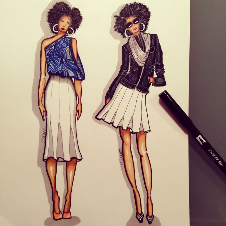 "My skirt ""before and after"" in a sketch #fashion #illustration"