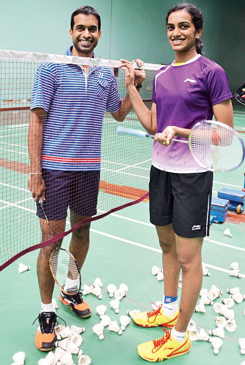 PV Sindhu - India's female Silver Medalist in Badminton (Rio 2016) with coach/the one who created the famed Badminton Academy in India - Pullela Gopichand #PowerTeam