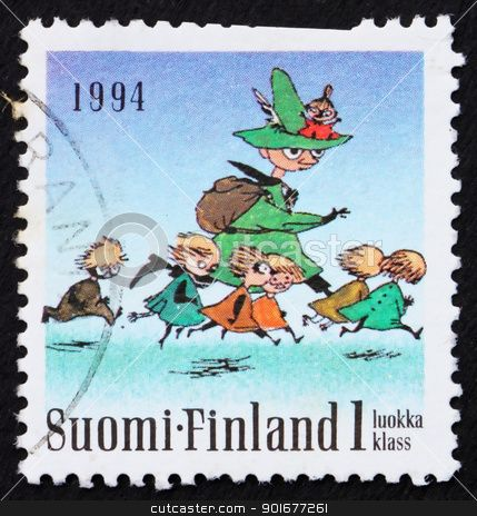 Postage stamp Finland 1993 Seven Running, Moomin Characters stock photo
