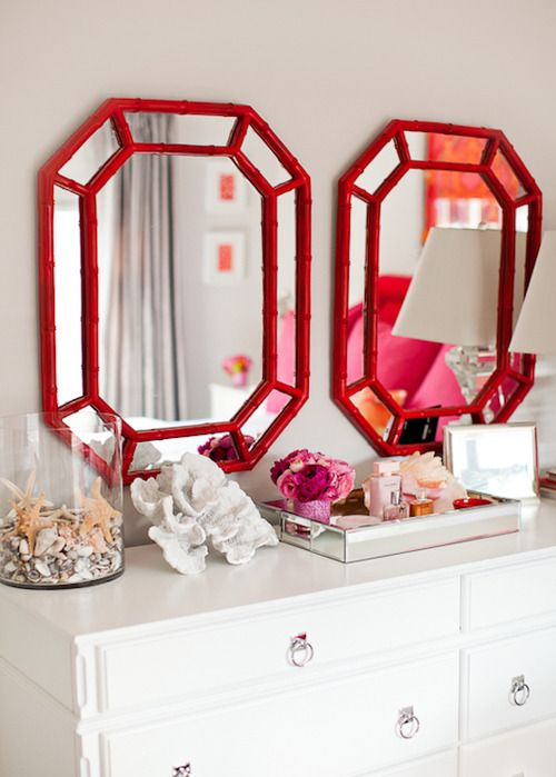 gem mirros: White Dressers, Red Mirror, Decor Ideas, Bamboo Mirror, Faux Bamboo, Double Mirror, Red Bamboo, Gray Wall Colors, Lights Gray Wall