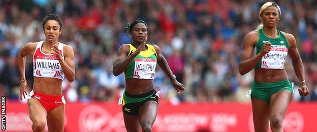 Glasgow 2014: Nigeria's Blessing Okagbare completed a Glasgow 2014 sprint double by winning the women's 200m ahead of English duo Jodie Williams and Bianca Williams.  Blessing Okagbare (right) wins 200m gold ahead of Jodie Williams (left), who took silver.  The two English sprinters ran personal best times, as did their compatriot Anyika Onuora, who took fourth.