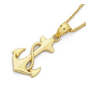 9ct Gold Anchor with Rope Pendant