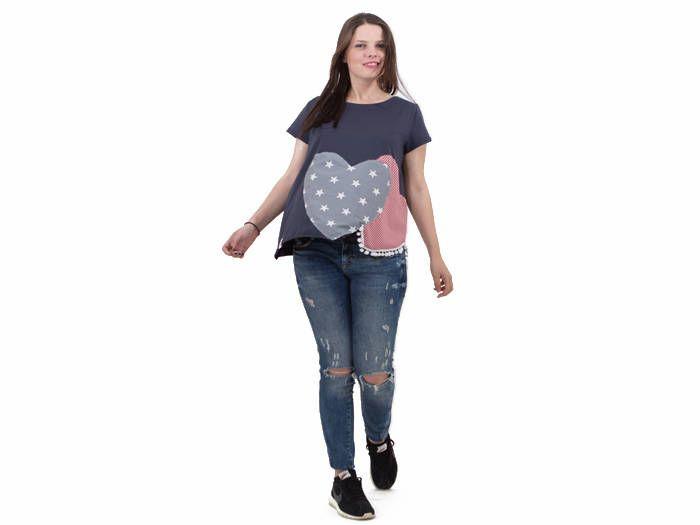 Gray-blue organic cotton top/ women cotton top/ women summer top with hearts/ handmade women top/ short sleeves top/ women asymmetrical top by PepperFashion on Etsy