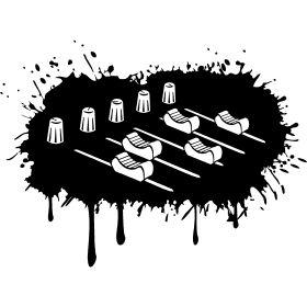 Farbklecks Mischpult - Ein DJ Musik Mischpult mit all seinen Regler und Schiebern auf einen Farbklecks.