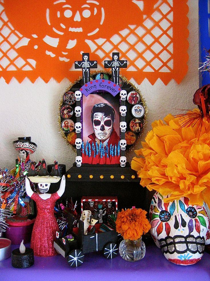 artist Dark Mol's wonderful Santa Muerte Elvis shrine.  I love his work