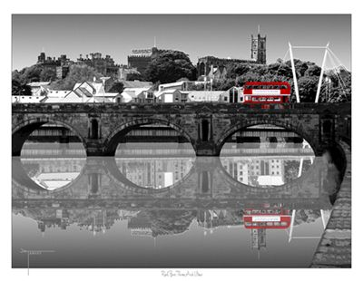 Red bus Lancaster uk black and white reflections by Joseph Tamassy