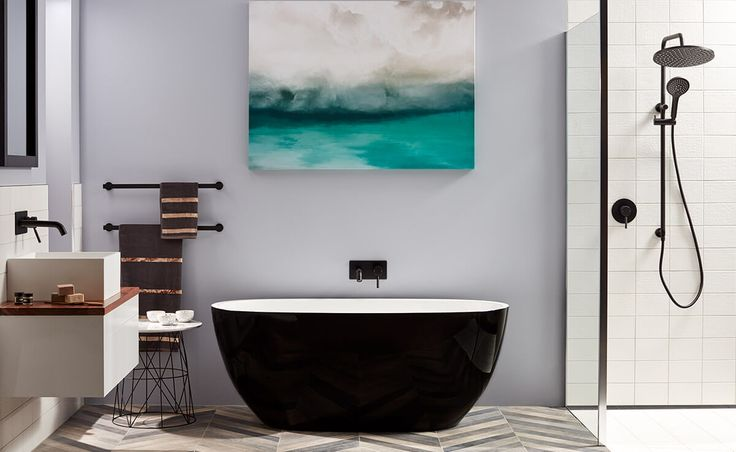 Material Crush bathroom in affordable luxury - choose bold singular items as your key players. Look to freestanding baths, pendant lights and stunning tapware as your starting point.
