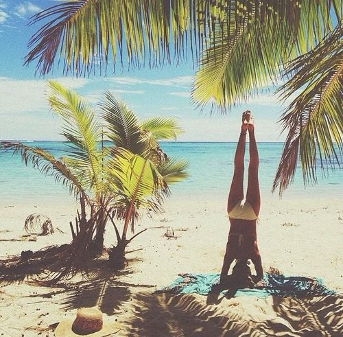 Just some yoga on the beach