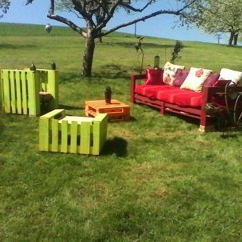 Salon De Jardin En Palettes - Colorful Pallets Garden Set
