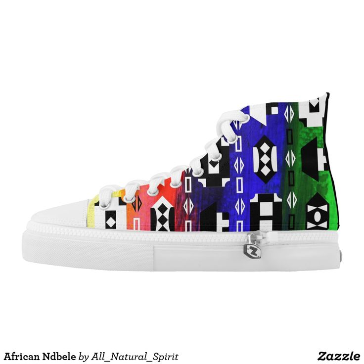 Stay Calm & Be Cool with these striking African Ndbele High Top Sneakers! Created exclusively for All Natural Spirit & available in different sizes! Make it Yours! For more products visit our Zazzle Store @ https://www.zazzle.com/z/y1wxj?rf=238562247198752459 #Zazzle #Shoes #SouthAfrica #Rainbow #Nation #Sneakers #Style #Fashion
