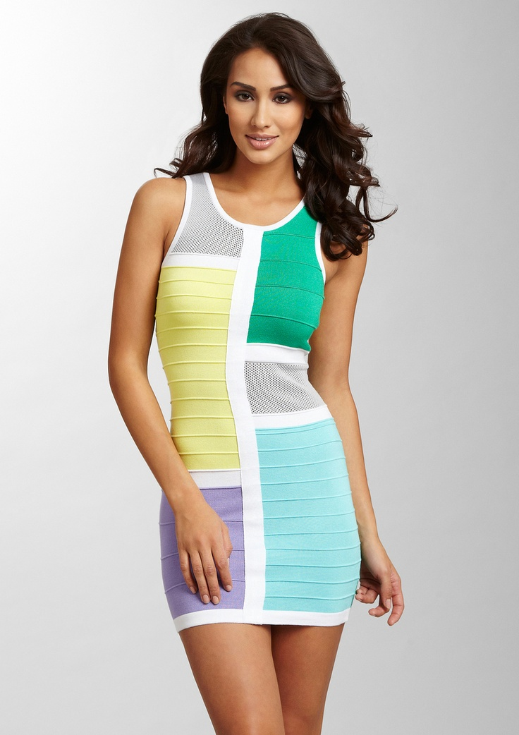 Color block knit dress mint green and white interview