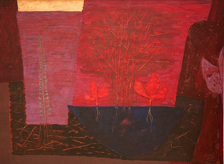1963 Jiří JOHN olejová tempera, vrypy, karton na lepence