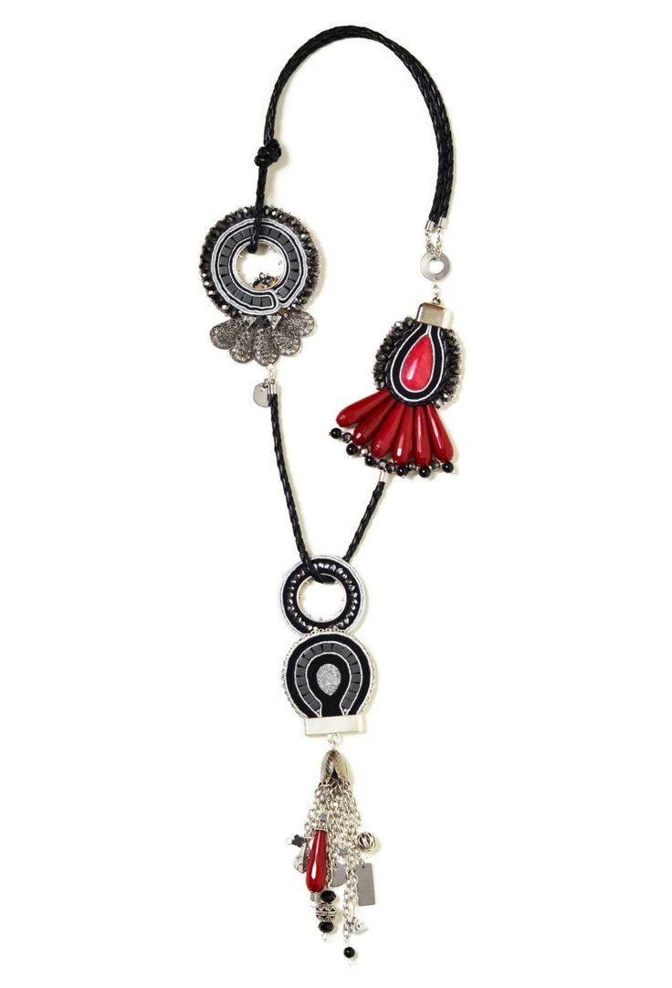 statement necklace handmade  rock and roll jewelry  soutache jewelry  long beaded necklace  Red Black Silver Jade hematite pendant tassel by SixVintageChicks on Etsy