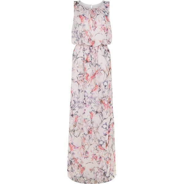 Monsoon Tiger Lily Maxi Dress (5.844.955 VND) ❤ liked on Polyvore featuring dresses, ruched maxi dress, tie-dye maxi dresses, blouson dress, keyhole maxi dress and monsoon dresses