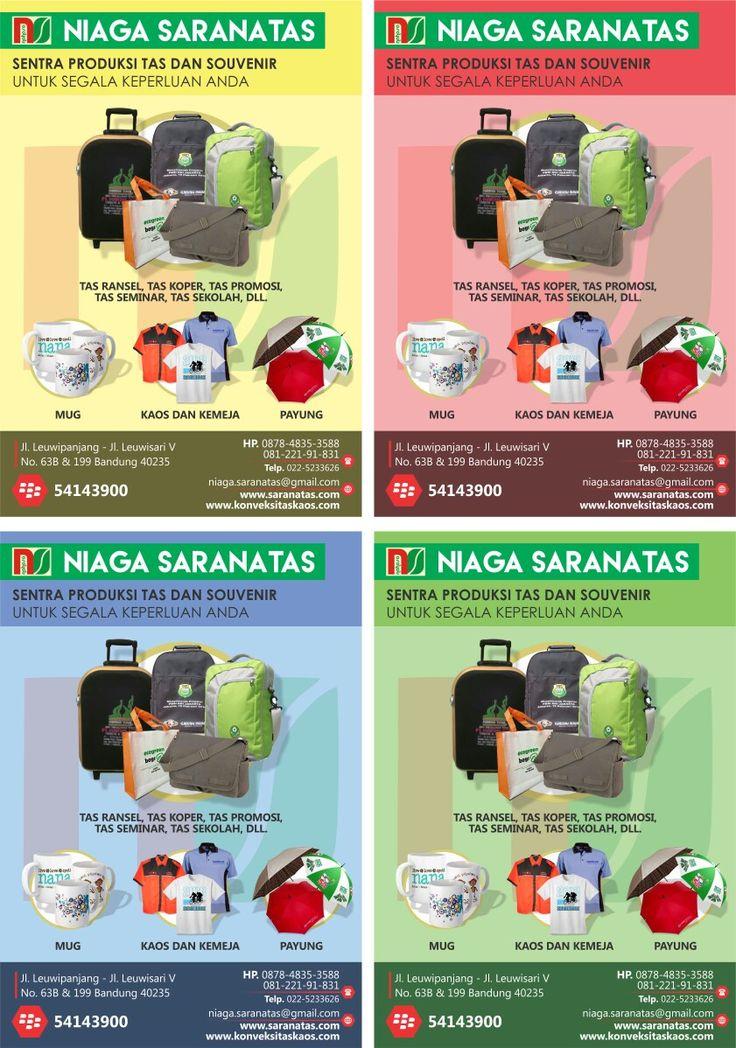 Contoh design / desain pamflet brosur untuk produk-produk tas, souvenir, dan lain-lain. Tersedia dengan varian 4 warna: kuning, merah, biru, dan hijau.