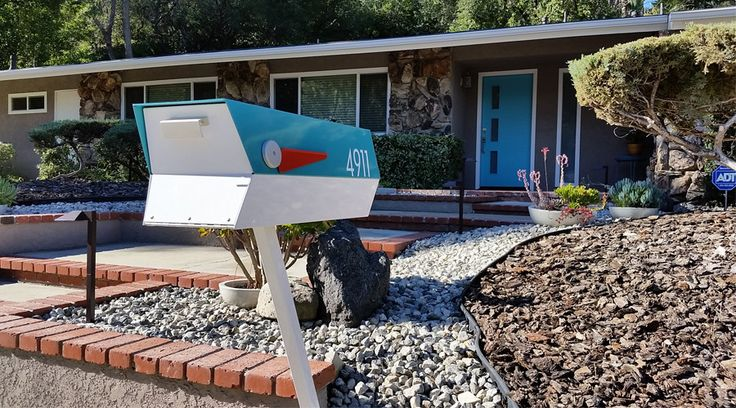Mid-century modern mailbox design that visually compliments your mid-century modern home or Atomic Ranch.
