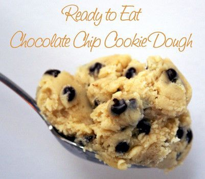 Single Serving Ready to Eat Cookie Dough Recipe: 1 tbsp Milk, 3 tbsp Flour, 2 tbsp Sugar (white or brown), 1 1/2 tbsp Butter, splash of vanilla extract & as many Chocolate Chips as you want!