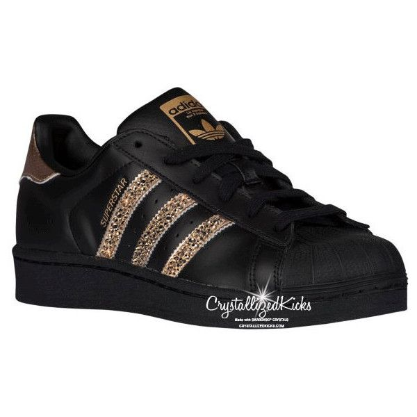 Adidas Original Superstar Made With Swarovski Xirius Rose Crystals... ($175) ❤ liked on Polyvore featuring shoes, grey, sneakers & athletic shoes, tie sneakers, women's shoes, grey shoes, rose gold shoes, black shoes, wrap shoes and black evening shoes