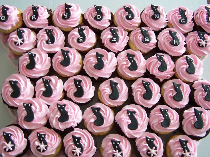 1/2 choc, 1/2 vanilla cupcakes for a baby girls baby shower. The parents love music, so I cute out a music note in black fondant and wrote the babies name on them and added dots and flowers to make it look appropriate for the theme. Pink vanilla buttercream icing.