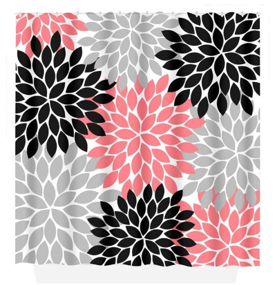 Coral Black Gray SHOWER CURTAIN Flower Burst Petals by TRMdesign