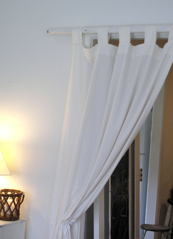 for the sunroom, homemade curtain poll, weathered style