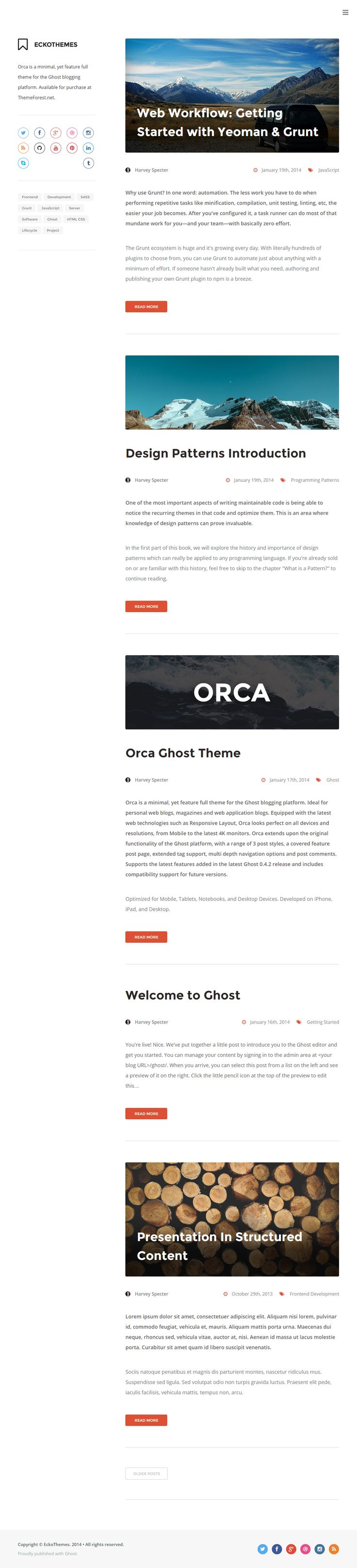 Orca is Premium full Responsive Ghost Blog Theme. Retina Ready. Integrated Disqus Comments. Grunt Setup. Syntax Highlighting. http://www.responsivemiracle.com/cms/orca-premium-responsive-ghost-theme/