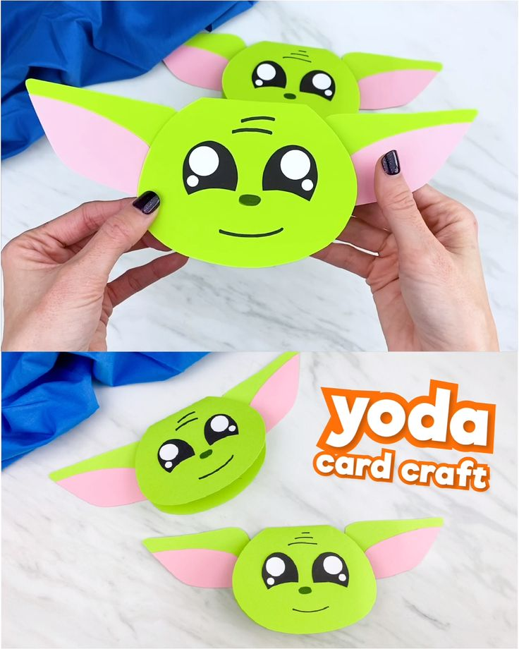 Mandalorian and Star Wars fans will love creating this Yoda card craft for kids! It's a simple and fun paper craft that's perfect for Valentine's Day, Father's Day, birthdays or any time of year! Fathers Day Crafts, Toddler Crafts, Diy Crafts For Kids, Craft Kids, Star Wars Art Projects For Kids, Kids Diy, Regalos Star Wars, Yoda Card, Star Wars Crafts