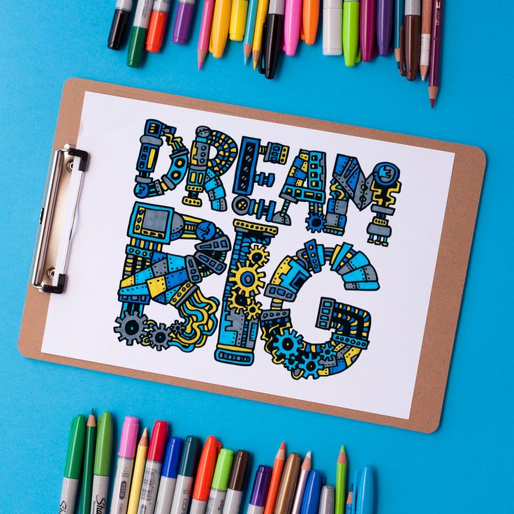 Dream Big Steampunk Typography Adult Coloring Page   Find more adult coloring pages, coloring books and other printables at www.sarahrenaeclark.com