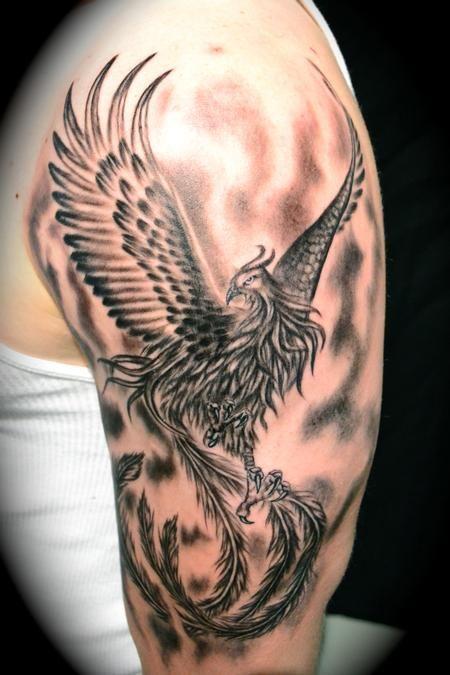 Phoenix tattoo w/ shading. Cool.