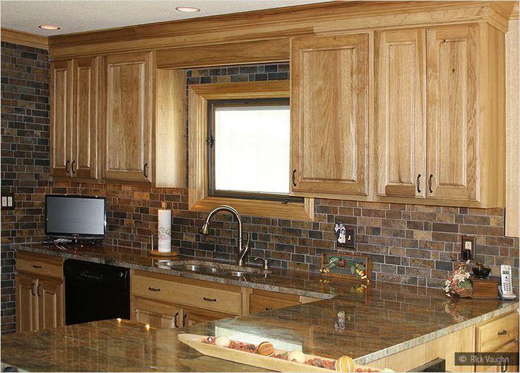Oak Kitchen Cabinet Granite Countertop Slate Rusty Brown