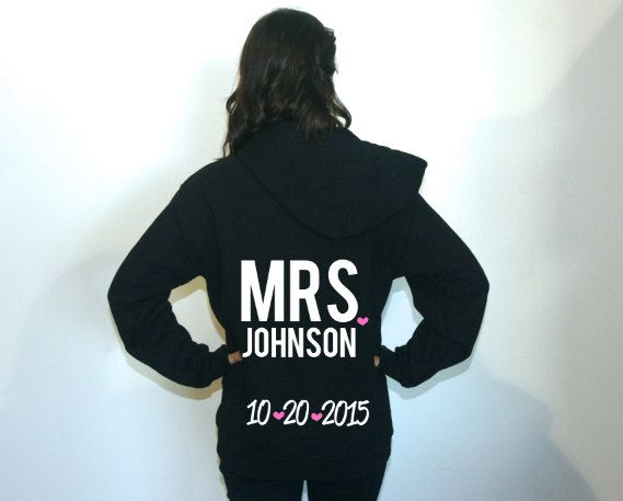 Mrs Bride sweatshirt jacket. Bride hoodie. by BrideAndEntourage