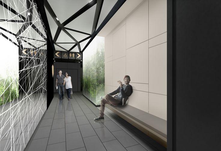 Design of the interior for public toilets and corridors in SC Złote Tarasy, stage 02. #geometric #minimal #zlotetarasy #architecture #design #interiors #art #plants #mirror