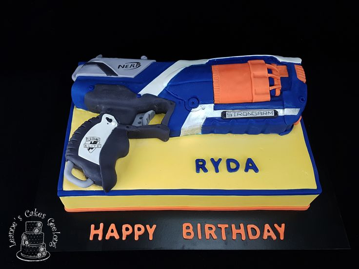 A Nerf Gun cake made to actual size. www.facebook.com/cakesbyleannerhodes